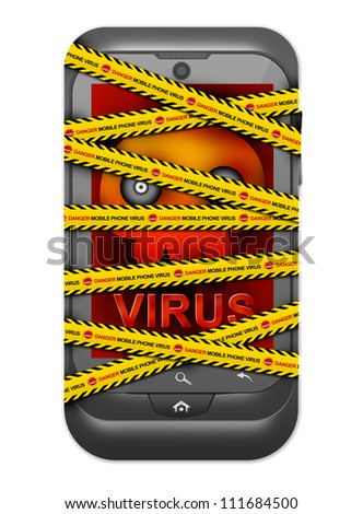 Black Smart Phone With Skull and Virus Alert on Screen Cover By Danger Mobile Phone Virus Caution Tape For Mobile Phone Virus Concept Isolated on White Background - stock photo