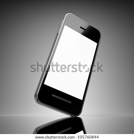 Black smart phone with touch screen blank - stock photo