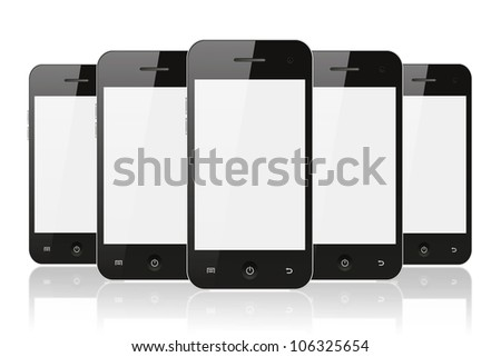 Black smart phones on white background with reflection - stock photo