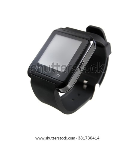 Black smart watch bluetooth  isolated on white