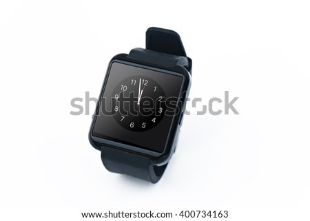 black Smart watch close up isolated on white background