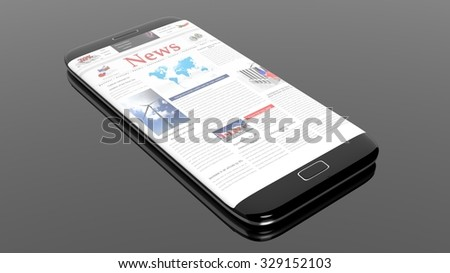 Black smartphone edge with News Website on screen,isolated on black.
