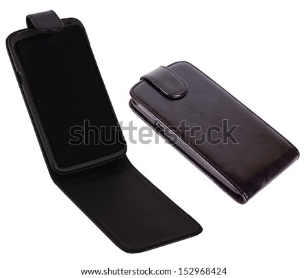 Black smartphone in case isolated on white - stock photo