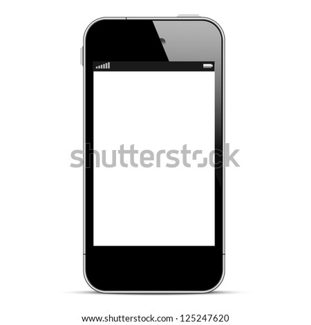 Black smartphone isolated on white background. Raster version - stock photo