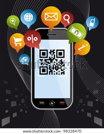 Black smartphone, mobile or Cell Phone device with QR code app on black background. - stock photo