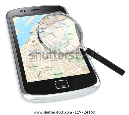 Black Smartphone with a GPS map and a Magnifying Glass.