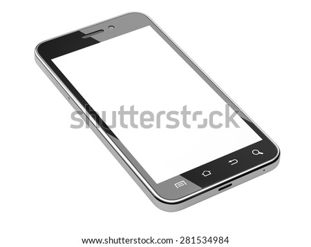 Black smartphone with blank screen. Isolated on white background 3d image. - stock photo