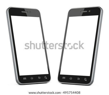 Black smartphone with blank screen left and right view. Isolated on white background 3d image.