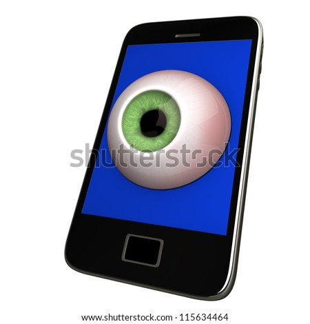 Black smartphone with eye. White background. - stock photo