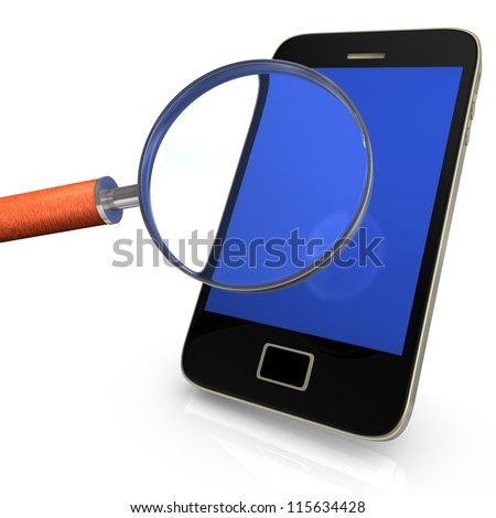 Black smartphone with loupe on the white background. - stock photo