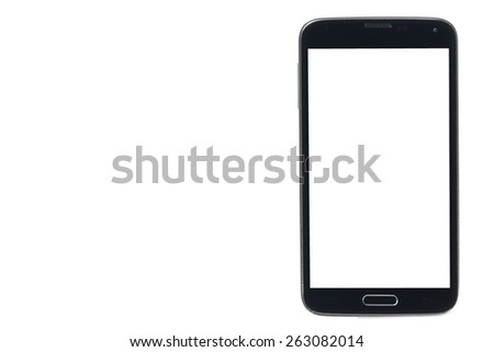 Black smartphone with silver edges and white screen isolated - stock photo