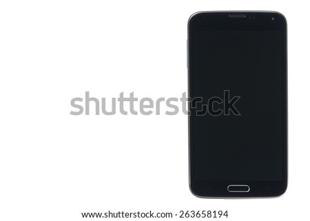 Black smartphone with silver edges isolated on white background - stock photo