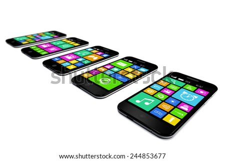 Black smartphones with a variety of software applications are on white background.