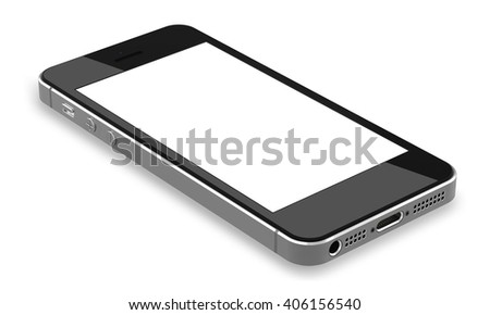 Black smartphones with blank screen, isolated on white background - high detailed,realistic,  whole in focus, 3d illustration.