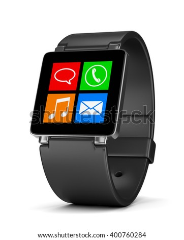 Black Smartwatch with App Icons on Display on White Background 3D Illustration
