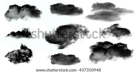 Black smoke clouds isolated over white background set. Black clouds illustration set - stock photo