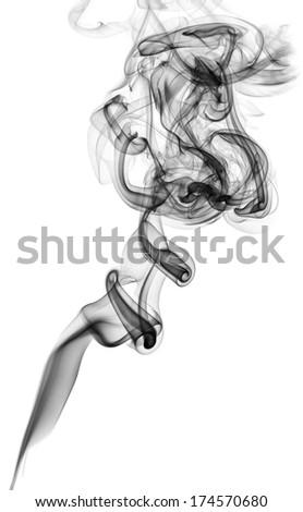 black smoke isolated on white background - stock photo