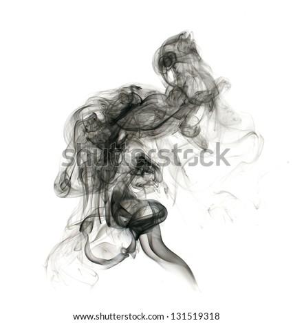 Black smoke on a white background - stock photo