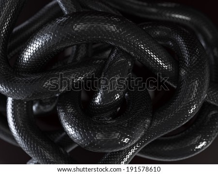 Black Snakes Abstract Background - stock photo