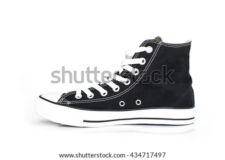 black sneakers classic vintage shoe on white background