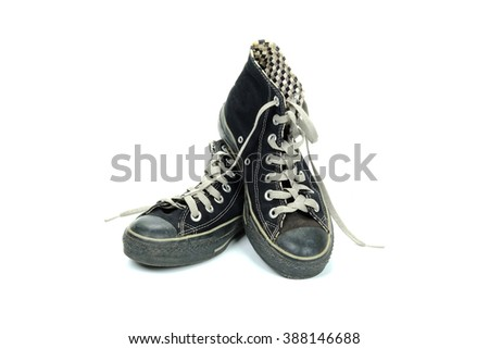 Black sneakers on a white background