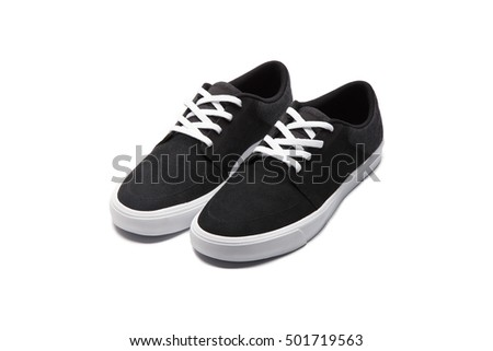 Black Sneakers on White Background