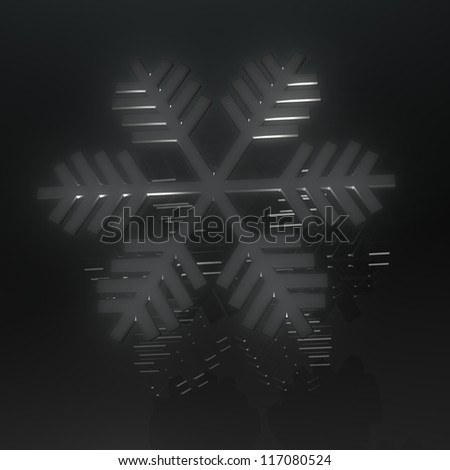 Black snow with reflection on black - stock photo