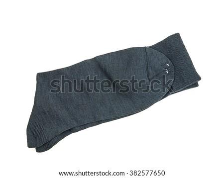 Black socks, white background. - stock photo