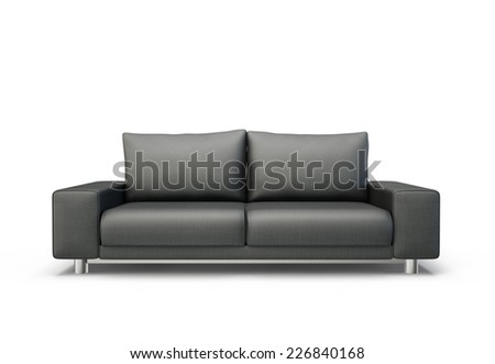black sofa isolated on a white background - stock photo