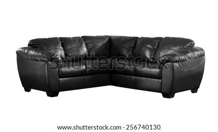 Black sofa isolated on white background - stock photo