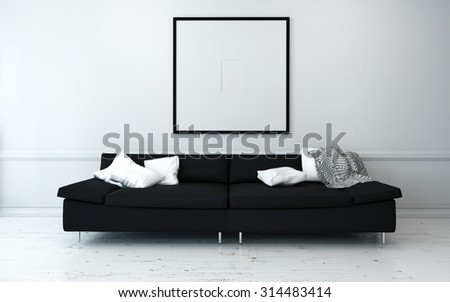 Black Sofa with White Cushions in Sparsely Decorated Modern Living Room with Minimalist Artwork on Wall. 3d Rendering - stock photo