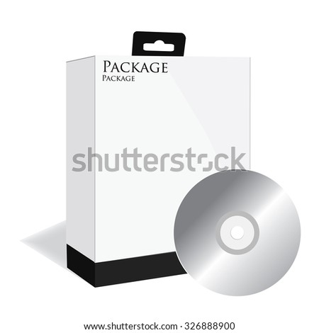 Black software box, software package, product box, raster, isolated on white