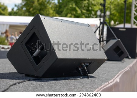 Black Sound monitor on the stage. Back side - stock photo