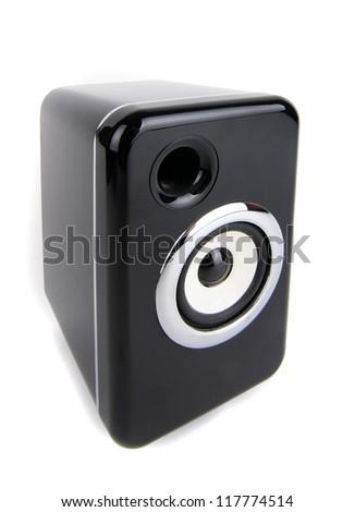 Black sound speaker on white background - stock photo