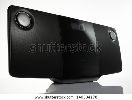 Black sound speakers - stock photo