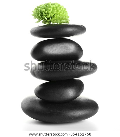 Black spa stones and green flower, isolated on white - stock photo