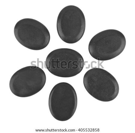 black Spa stones isolated on white background - stock photo