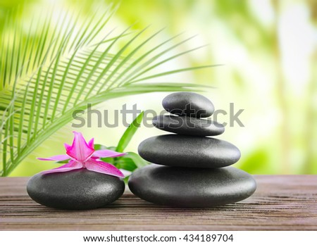 Black spa stones on natural background - stock photo