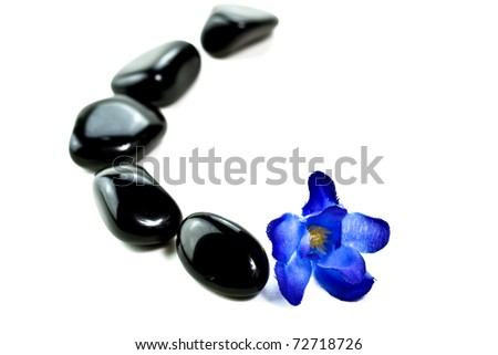 Black SPA stones with blue flower