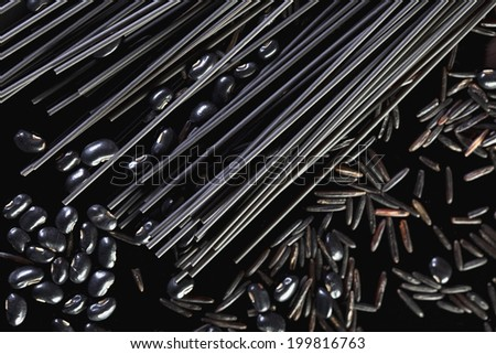 Black Spaghetti, Black beans and Canadian Wild Rice, close-up