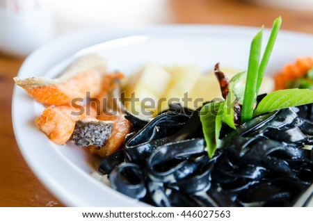 Black Spaghetti with Salmon