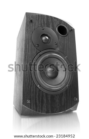 black speaker isolated on white with reflection - stock photo