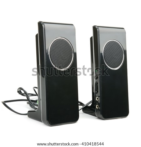 Black speakers isolated on white background - stock photo