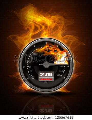 Black Speedometer in Fire. High resolution. 3D image - stock photo
