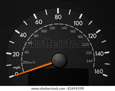 Black Speedometer with Orange Needle