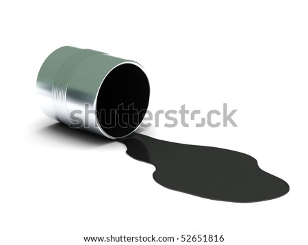Black spilled paint isolated on white background. High quality 3d render. - stock photo