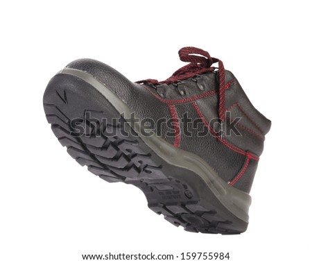 Black sport boot. Isolated on white background. - stock photo