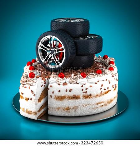 Black sports wheel on a blue background - stock photo
