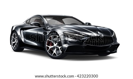 Black Sporty Car   3D Render On White Awesome Ideas