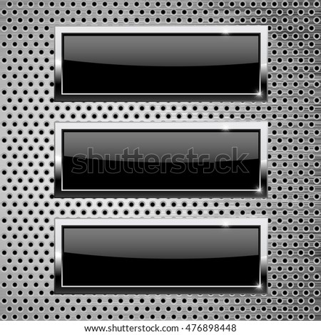 Black square buttons on metallic background. 3d illustration. Raster version